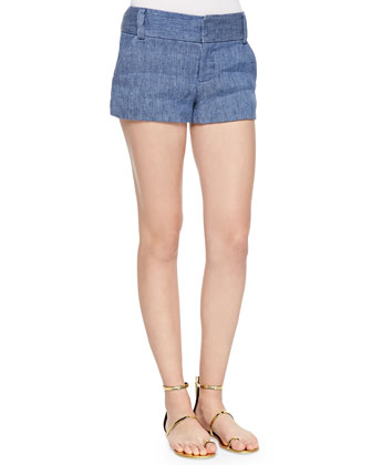 Ama Embellished Boat-Neck Tank & Cady Chambray Shorts