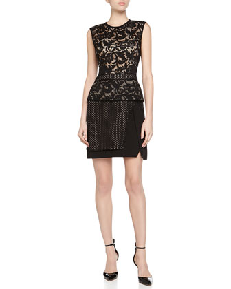 Tier-Skirt Lace Dress, Black