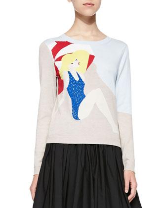Sunbather Knit Long-Sleeve Sweater & Nako Full Contrast-Hem Skirt