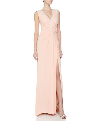 Sleeveless Twist-Front Slit-Skirt Gown, Blush