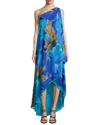 Floral-Print One-Shoulder Drape Gown