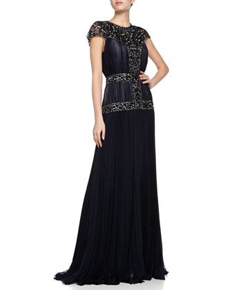 Silk Mousse Embellished Pleated Gown, Marine