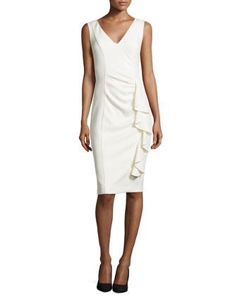 Sleeveless Ruffle-Front V-Neck Sheath Dress