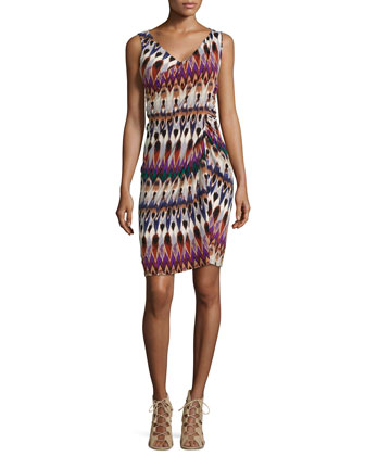 Sleeveless Printed Faux-Wrap Dress