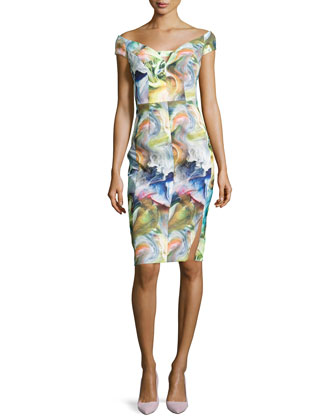 Alizee Off-the-Shoulder Printed Sheath Dress
