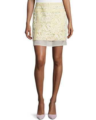 Lace Mix Mini Skirt W/ Mesh Trim