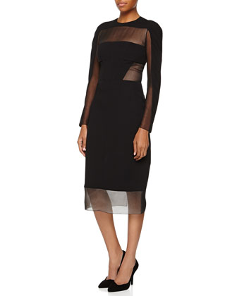 Long-Sleeve Sheer Detail Sheath Dress