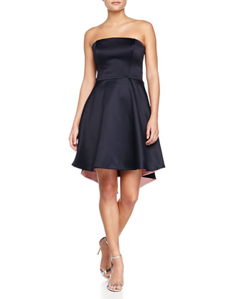 Strapless Colorblock Draped-Back Dress