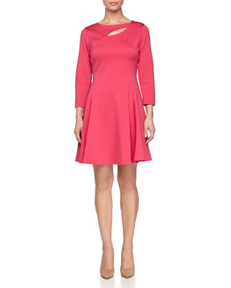 Fit & Flare Ponte Dress, Berry
