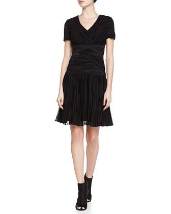 Plisse V-Neck A-Line Dress