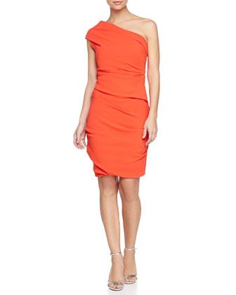 One-Shoulder Crepe Cocktail Dress, Fire