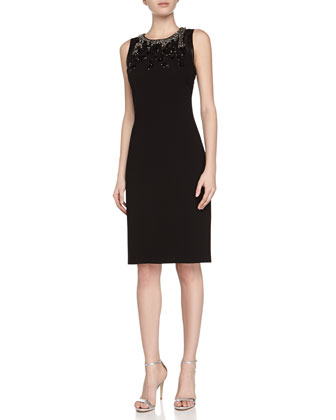 Sleeveless Beaded Halter Sheath Dress, Black