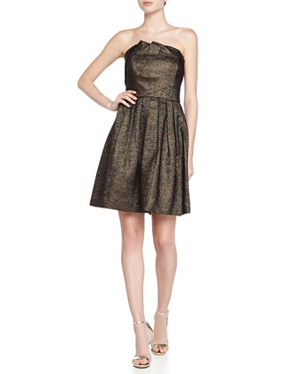 Strapless Metallic Pleat-Detail Dress