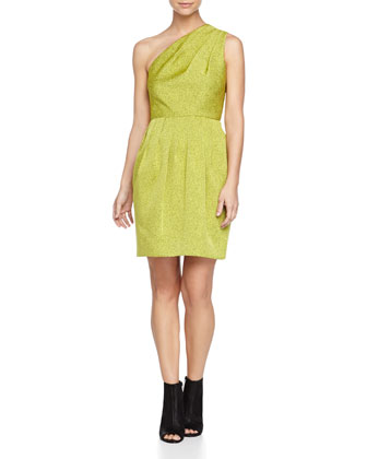 One-Shoulder Jacquard Dress, Apple Green