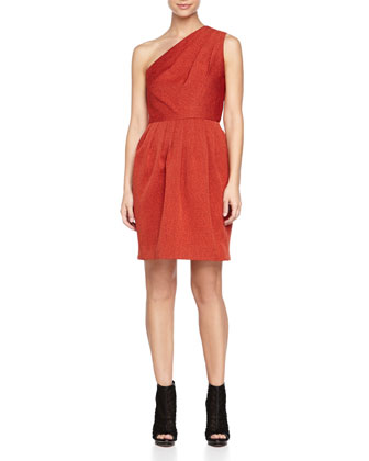 One-Shoulder Jacquard Dress, Brick