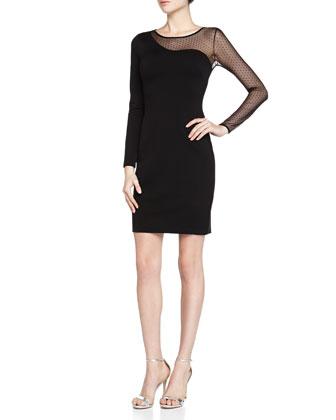 Point d'esprit Mesh/Ponte Cocktail Dress, Black