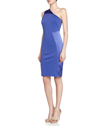 One-Shoulder Ponte Sheath Dress, Blue