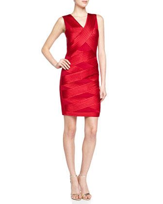 Crisscross Bandage Ponte Dress, Crimson