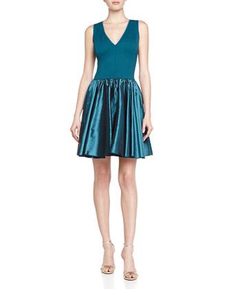Ponte/Satin Combo Dress, Mallard