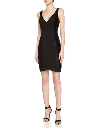 Sleeveless Ponte Paneled Dress, Black