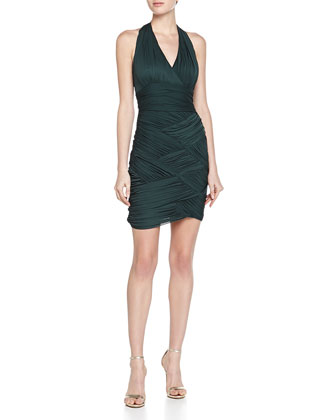 Ruched One-Shoulder Stretch Dress, Moss