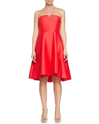Strapless Fit-and-Flare Dress, Coral