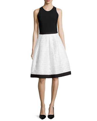 Sleeveless Dress W/ Polka Dot Skirt