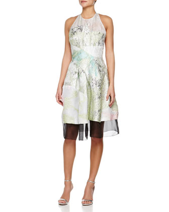 Textured Abstract-Print Halter Dress