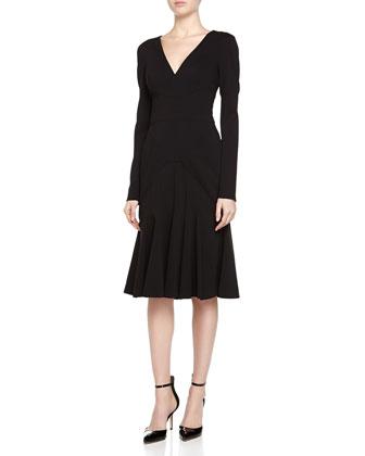 Plunging Godet-Skirt Dress, Black