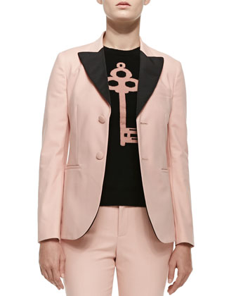 Two-Button Blazer W/ Contrast Lapels, Cashmere Colorblocked Lock & Key ...