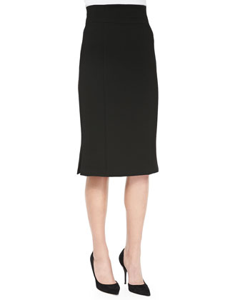 Straight Skirt with Inverted Pleats at Hem