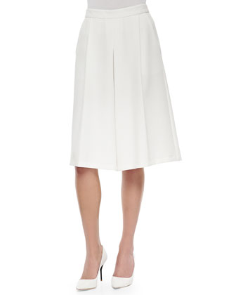 One-Button Blazer with Piped Trim & Stretch-Knit Wide-Leg Culottes