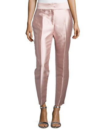 Mikado High-Waist Pants, Rose