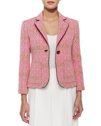 One-Button Blazer with Piped Trim