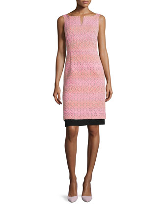 Seascape Boat-Neck Sleeveless Knit Sheath Dress