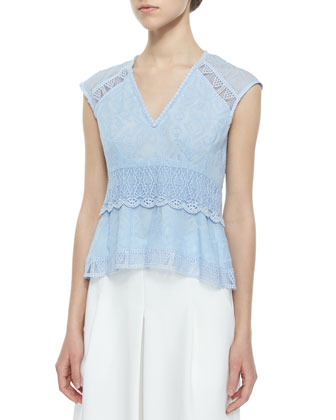 Sleeveless Lace Flutter Traveler Top