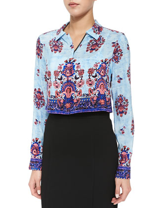 Long-Sleeve Border-Print Blouse & Straight Skirt with Inverted Pleats at Hem