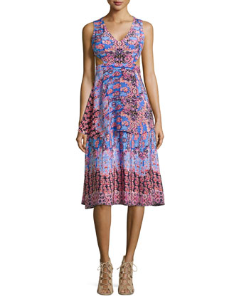 Sleeveless Print Dress with Side Cutouts