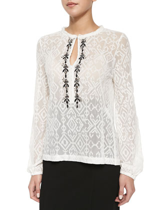 Embroidered-Trim Sheer Lace Blouse