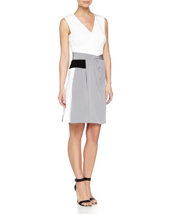 Matte Crepe Multi-Tone Dress, Gris/Nuage