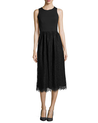 Sleeveless Lace Dress with Jersey Bodice