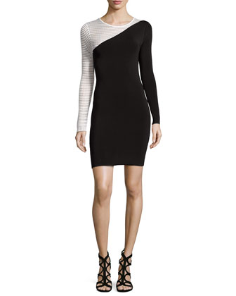 Jewel-Neck Sheath Dress with Contrasting Sleeve