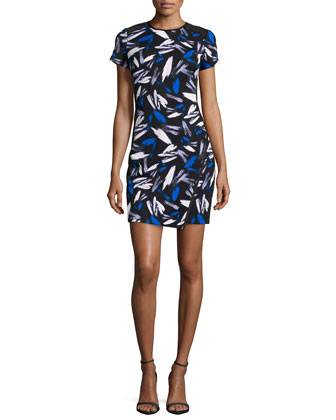 Cap-Sleeve Abstract-Print Sheath Dress
