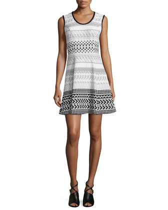 Graphic Print Fit-and-Flare Dress