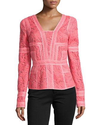 Long-Sleeve Floral Lace Top, Aurora