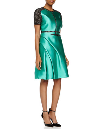 Scuba Silk Dress W/ Draped Skirt
