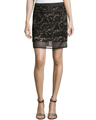 Lace Mix Mini Skirt W/ Mesh Trim, Noir