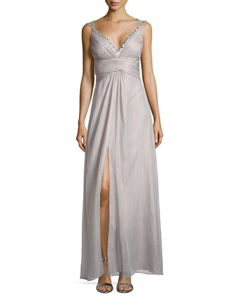 Gown W/ Beaded Crisscross Straps