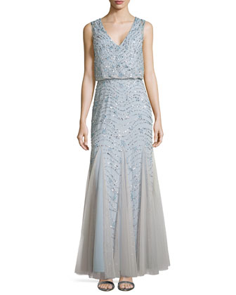 Sleeveless Beaded Godet Gown, Silver Blue