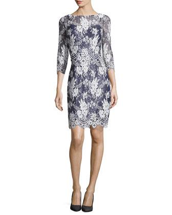 3/4-Sleeve Lace Dress, Navy Multi